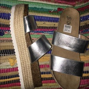 Silver block platforms sandals new w box Size 7